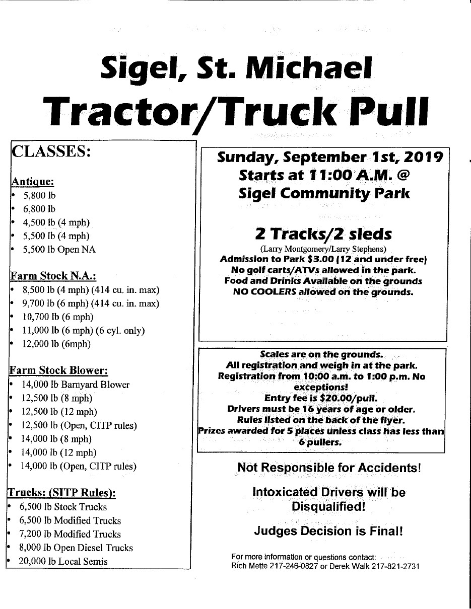 Sigel St Michael Tractor Pull 2019