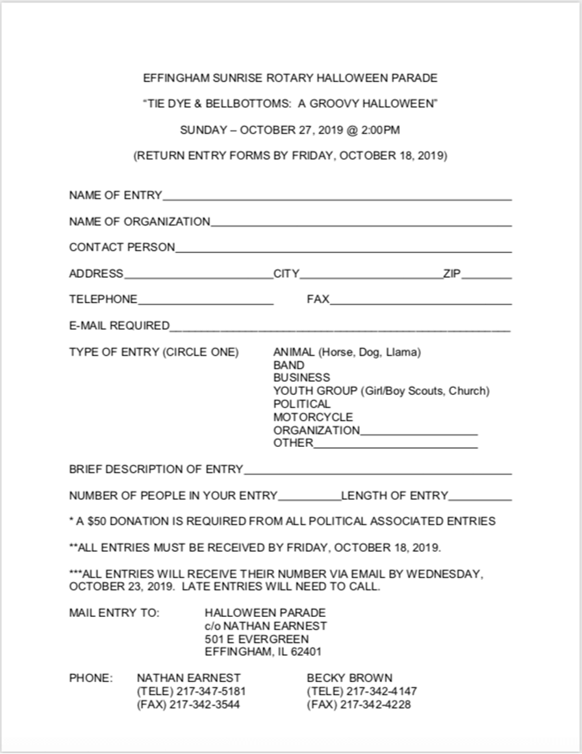 Halloween Parade Entry Form